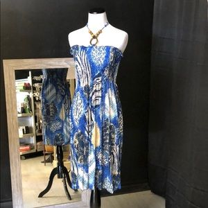 Multi animal blue print halter sundress with tie